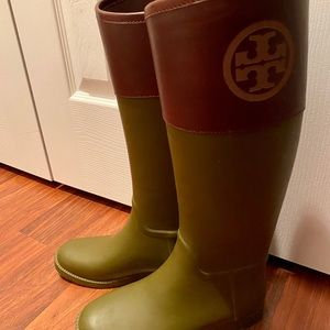 Tory Burch classic Olive and Almond Rain boots